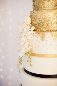 Ivory Gold Wedding Cake