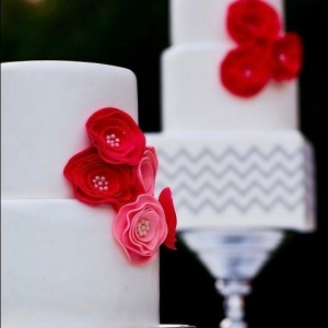 Red, White & Chevron Wedding Cake